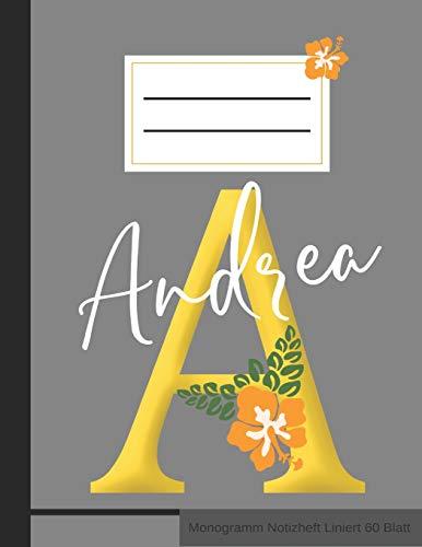 A Andrea Monogramm Notizheft Liniert 60 Blatt: Personalisiertes Vornamen Notizbuch mit Linien A4