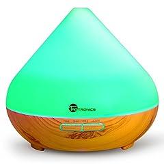 Idea Regalo - TaoTronics Diffusore di Aromi Ultrasuoni 300ML Vaporizzatore 7 Colori LED per Oli Essenziali, Purificatore Aria, Controllo per Vaporizzazione e Illuminazione, Timer e Auto Spegnimento