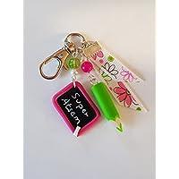 bijou de sac super atsem crayon et ardoise ecole rose et vert cadeau merci atsem