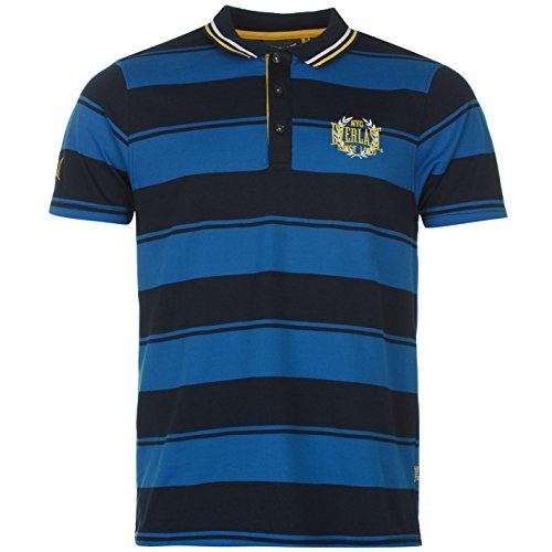 Everlast Yarn Dye Bold Stripe Polo da uomo T-Shirt Polo maglietta a manica corta tempo libero Tee Royal/blu marino S
