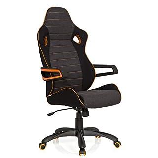 hjh OFFICE 621850 Gaming Stuhl RACER PRO IV Stoffbezug Schwarz/Grau Schalensitz Chefsessel mit hoher Rückenlehne