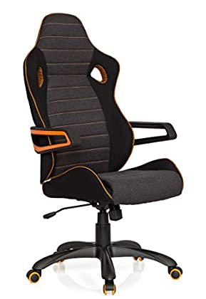 hjh OFFICE 621850 RACER PRO IV - Silla gaming y oficina, tejido negro/gris/naranja