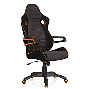 hjh OFFICE 621850 RACER PRO IV – Silla gaming y oficina, tejido negro/gris/naranja
