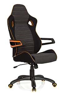 hjh OFFICE 621850 Gaming PC Stuhl RACER PRO IV Stoff grau orange, hohe Rückenlehne, abriebfester Stoff, ideal zum Zocken, feste Armlehnen, Bürostuhl, Racing, Racer Stuhl, Gamer Chefsessel