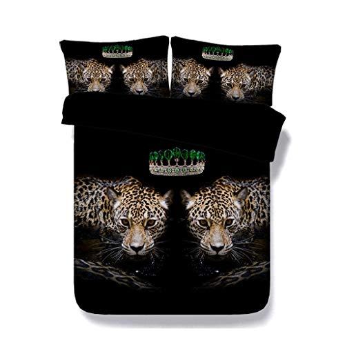 sche Tier Leopard Bettbezug Set 3 Stücke Tröster Cover Sets 2 Kissen Shams Geschenk für Teen Jungen Kinder Bettwäsche Set Tierbett Set (Farbe : Crown Bed Set, größe : Cal King) ()