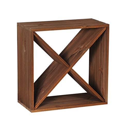 """Weinregal / Flaschenregal System CUBE 50, Modul 1 """"X"""" für 24 Fl., Holz Fichte, tobacco, stapelbar / erweiterbar – H 50 x B 50 x T 25 cm"""