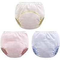 Hanibeiwa - Braguita de Entrenamiento de Niños de Algodón con Cintura Elástica Suave Cómodo Pantalones Cortos de Pañal Impermeable Ajustable Lavable de Rayas - 5-36 Meses