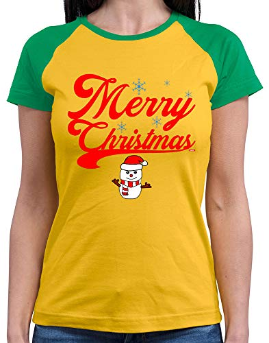 HARIZ  Damen Baseball Shirt Weihnachten Merry Christmas Stadt Weihnachten Weihnachts Schnee Winter Inkl. Geschenk Karte Gold/Kelly Green - Green Mann Kostüm Party Stadt