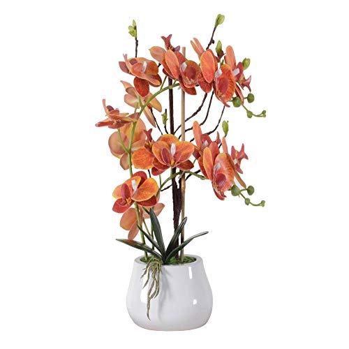 ENCOFT Kunstblumen orchideen Kunstpflanze Künstliche Blumen aus Eva Keramik Wohndeko Kunstbulme mit Übertopf Garten Balkon Wohnzimmer Hochzeit(43, Orange)