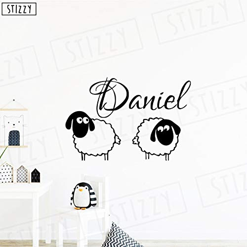 Xingbuxin adesivo murale cartone animato bella pecora nome personalizzato adesivi murali decorazioni per camerette per bambini simpatico animale poster rimovibile rosa 63x42cm
