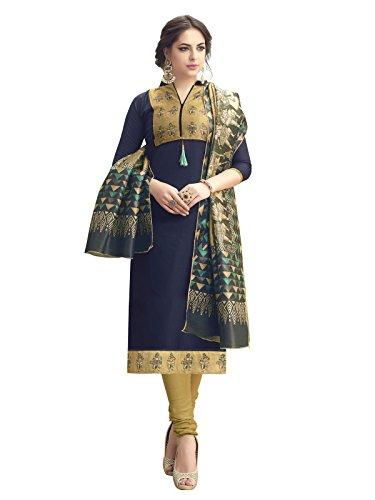 Kanchnar Women's Cotton Satin Navy Blue Semi Stitched Salwar Suit for Party...