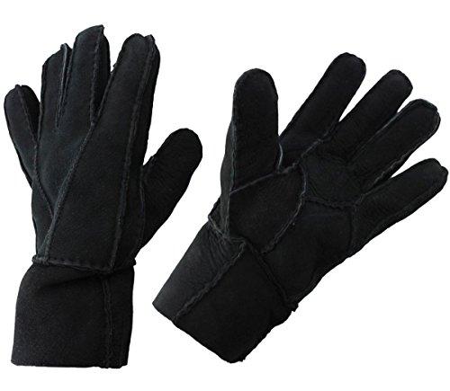 Sonia Originelli Handschuhe Luxus Leder Lammfell Winter Unisex Farbe Schwarz, Größe M (Lamm-fell Schwarze)