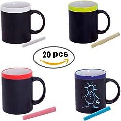 Lote de 20 Tazas Pizarra de Cerámica ideales para Desayuno, en caja de Regalo. Tazas Infantiles para Colorear con tizas, pinturas. Regalos para Niños y niñas Cumpleaños y Detalles de Comuniones