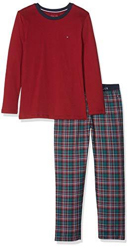 Tommy Hilfiger Jungen LS Set Flannel Zweiteiliger Schlafanzug, Rot Rhubarb 044, 152 (Herstellergröße: 10-12)