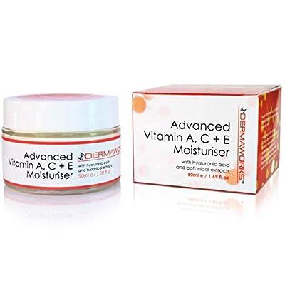 Retinol Moisturiser. Vitamin C Moisturiser for Face. Vitamin E Face Cream + Hyaluronic Acid. Powerful Age Defying, Anti Wrinkle, Anti Ageing Face Cream. Skin Firming, Skin Lightening. NATURAL. VEGAN