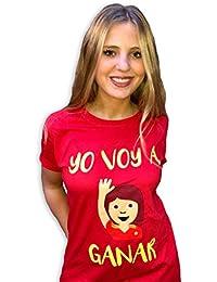 Naola design Camiseta España Mundial Mujer,Yo voy a Ganar, solidaria, Fundación Aladina, Algodón, Color Rojo, Mundial…