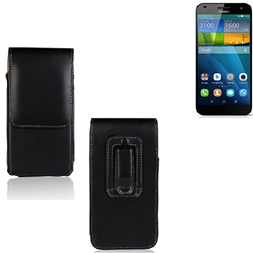 Marsupio per Huawei Ascend G7, di alta qualità custodia in pelle sintetica di colore nero | pianura semplice eleganza funzionale. Cassa del telefono mobile della copertura della cassa sacchetto trasversale tasca Clip di trasporto verticale Cover Bag