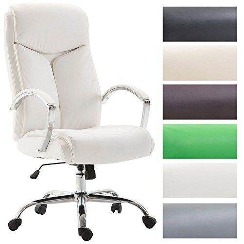 ud mit Kunstlederbezug I Chefsessel mit Armlehnen I Bürodrehstuhl mit Einer max. Belastbarkeit von 140 kg I erhältlich Weiß ()