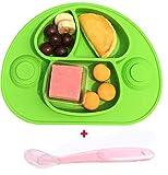 Mantel individual de silicona extra grande y bandeja y cuenco para bebés y niños, seguro, no tóxico, silicona de grado alimenticio, sin ftalato, no se rompe verde