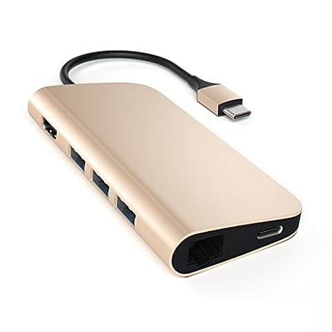 Satechi Adaptateur Multi-Ports 4K HDMI (30Hz), Pass de Type-C, Ethernet Gigabit, lecteur de cartes SD/Micro SD, et 3 Ports USB pour MacBook 12 et nouveau MacBook Pro 2016