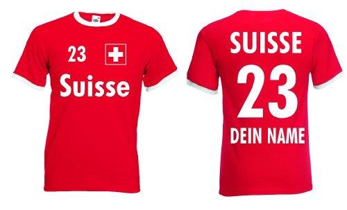 Suisse / Schweiz Herren T-Shirt Retro mit Wunschname & Nummer|XXL