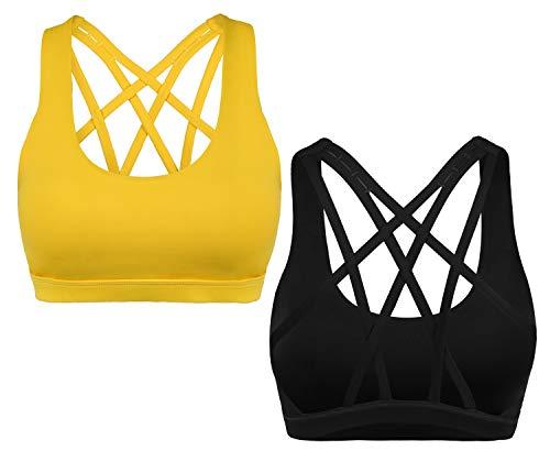 CLOUSPO Sport BH Damen Bustier Gepolstert Ohne Bügel Yoga BH Top für Workout (Large, Gelb-Schwarz)