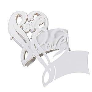 Phenovo Lot de 50pcs Carte de Verre Marque Place Love Coeur Décoration de Table pour Cérémonie de Mariage