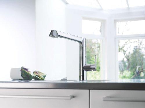 Grohe K7 Küchenarmatur, hoher L-Auslauf, herausziehbare Spülbrause – 32176000 - 4