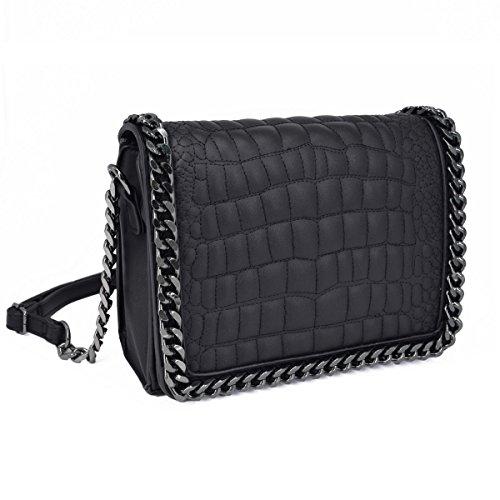 CRAZYCHIC - Damen Kroko Muster Ketten Umhängetasche - Mini Kleine Krokodile Leder Gesteppte Schultertasche - Kroko PU Stil Handtasche - Quadratische Messenger Crossbody Bag - Mode Trendy - Schwarz -