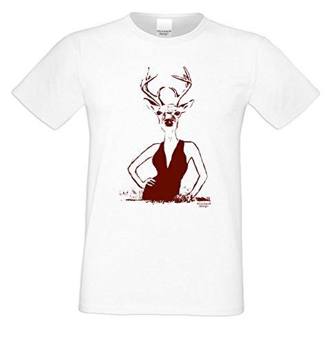 Witziges-Herren-Sprüche-Fun-T-Shirt cooles Volksfest Oktoberfest Party Outfit Motiv Hirschlady auch in Übergrößen Farbe: weiss Weiß