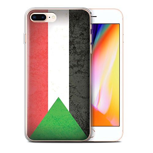 Stuff4 Gel TPU Hülle / Case für Apple iPhone 8 Plus / Tunesien/Tunesisch Muster / Afrika Flagge Kollektion Sudan/Sudanese