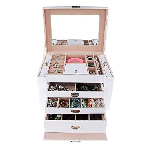 Songmics Schmuckkästchen Kosmetikkoffer mit 3 Schubladen Weiss 29,5 x 21,8 x 19,5 cm JBC04W -
