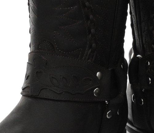 Grinders Galveston Homme Cowboy Biker Bottes, Noir Oily Full Black