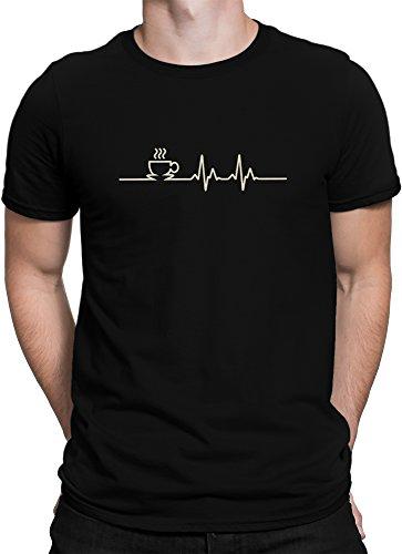 vanVerden Herren Fun T-Shirt Kaffee EKG Design Coffee Cup Lifeline Plus Geschenkkarte, Größe:M, Farbe:Schwarz/Braun