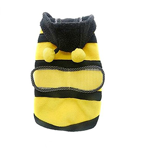 Kleine Bumblebee Hund Katze Welpen Apparel Bumble Bee Kleid bis Pet Mantel Hoodie (Brust Umfang: 40cm; Länge: 28cm)