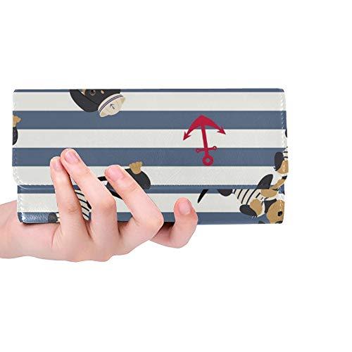 Einzigartige benutzerdefinierte Dackel Welpe Sailorman Kostüm Anker um Frauen Trifold Wallet Lange Geldbörse Kreditkarteninhaber Fall Handtasche (Benutzerdefinierte Kostüm Frauen)
