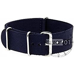 VK von Bura n01. com Military Nylon Watch Strap Dark Blue (Dark Blue) 22 mm Watch Strap Black