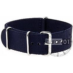 VK von Bura n01. com Military Nylon Watch Strap Dark Blue (Dark Blue) 22mm Watch Strap Black
