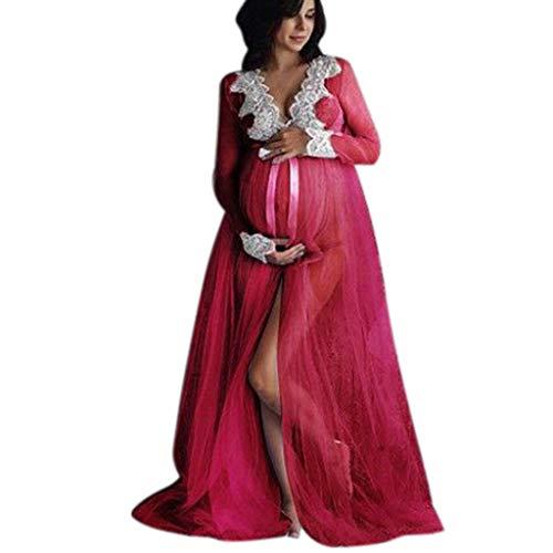 Damen Kleider für Schwangere Mesh Spitze Umstandskleid Split Maxikleid Elegant V-Ausschnitt Langes Kleider Elegant Partykleid Elegant Swing-Kleid Abendkleider Cocktailkleid