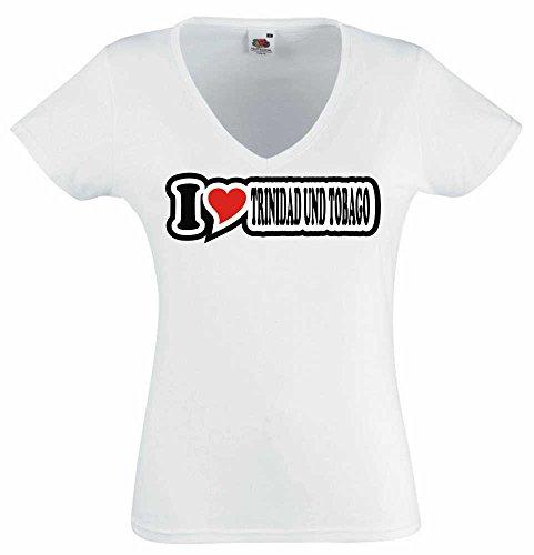 T-Shirt I Love Heart Damen V-Ausschnitt I LOVE TRINIDAD UND TOBAGO Weiß