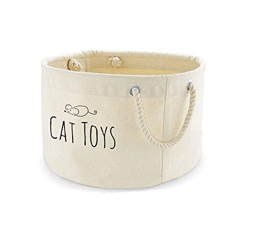 Bedruckte Leinwand Cat Toys Korb Aufbewahrung Bin Organizer Tasche (Leinwand-speicher-körbe)