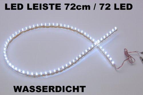 Preisvergleich Produktbild 2 x  LED Leiste Streifen weiß Lichtleiste 72 cm-72 led wasserdicht Aquarium Mondlicht