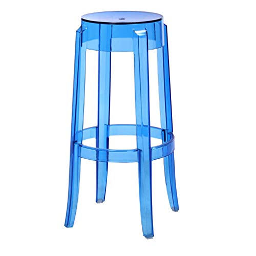 WRZ Kreative Mode Transparent Blau Kunststoff Hocker Esszimmerstuhl Kristallhocker Barhocker Hause Stuhl Einfache Hohe Hocker