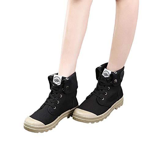 MYMYG Damen Militär Ankle Schuhe Freizeitschuhe Lace Up -