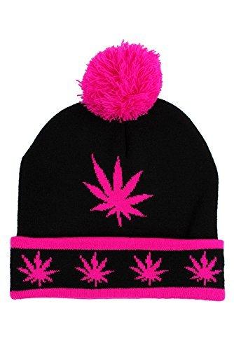 Hip Hop Caps Kush Pom Pom Bonnet DE Ski Casquette Noir Rose - Noir/Rose, Taille Unique