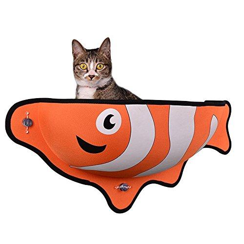 Aolvo Fensterliege für Katzen in Barschform, mehr Komfort für Ihre Katze, platzsparende Liege,mit 3 Saugnäpfen & Katzenspielzeug in Fischform, 78,7 x 30,5 x 17,8 cm, Größe XL