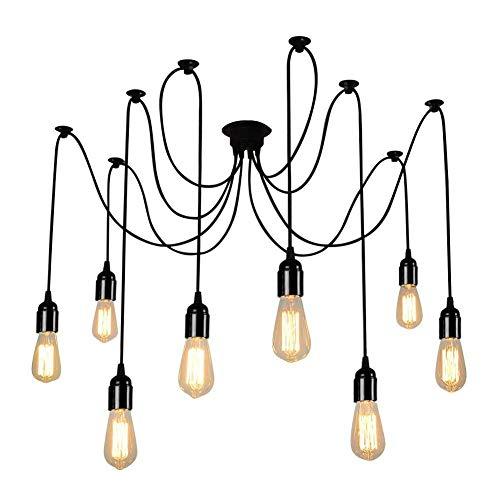 Lampop Araignées Lustre Plafond Lampe 8 Branches E27 Douille Retro Suspensions Luminaire Luminaire Eclairage Plafonniers Abat-jour Pendentif pour Dining Hall Chambre Hôtel avec 1.8m câble
