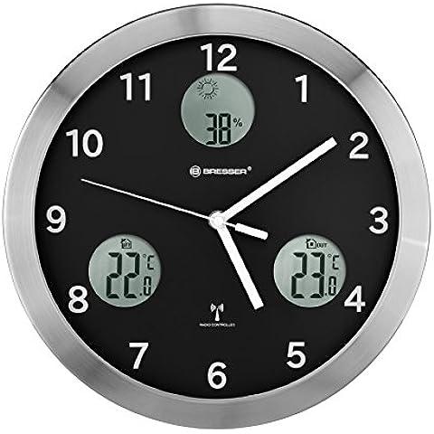 Bresser - MyTime io, Orologio da parete radio-controllato, con indicatore di temperatura interna/esterna e sensore esterno, 30 cm, colore: Nero