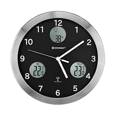 Bresser 8020201 MyTime IO Horloge Murale Acier Inoxydable Noir 30 x 4 x 30 cm