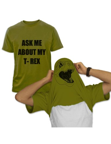 ASK ME ABOUT MY T-REX Olivgrün X-Large T-Shirt